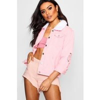 Womens Borg Collar Slim Fit Denim Jacket - Pink - 10, Pink