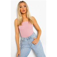 Womens Basic Rib Square Neck Thick Strap Body - Pink - 16, Pink
