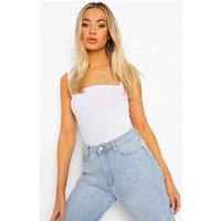 Womens Basic Rib Square Neck Thick Strap Body - white - 14, White