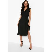 Womens Chiffon Ruffle Skater Wrap Bridesmaid Dress - Black - 18, Black