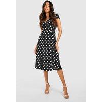 Womens Boutique Polka Dot Wrap Dress - black - 14, Black