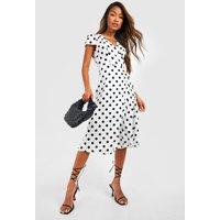 Womens Boutique Polka Dot Wrap Dress - white - 10, White