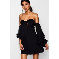 Womens Knot Front Exaggerated Sleeve Skater Dress - black - 12, Black
