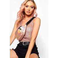 Womens Holographic Front Pocket Bumbag - pink - One Size, Pink