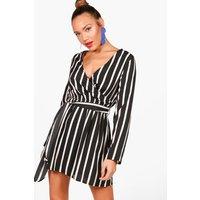 Womens Double Wrap Stripe Skater Dress - Black - 10, Black