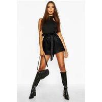 Womens Paper Bag Waist Tie Belted Shorts - black - 12, Black