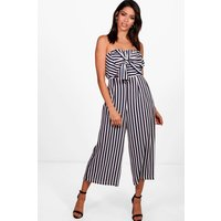 Womens Twist Bow Front Culotte Jumpsuit - navy - 10, Navy