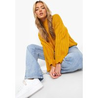 Womens Maxi Wide Sleeve Wide Rib Jumper - yellow - S/M, Yellow