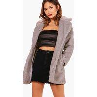 Womens Faux Fur Teddy Coat - grey - M, Grey
