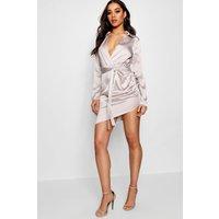 Womens Satin Wrap Detail Dress - Grey - 14, Grey
