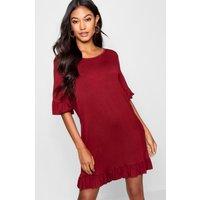 Womens Ruffle Detail Jersey Shift Dress - Red - 14, Red