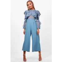 Womens All Over Lace Ruffle Culotte Jumpsuit - blue - 10, Blue