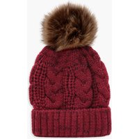 Womens Cable Knit Faux Fur Pom Beanie - red - One Size, Red