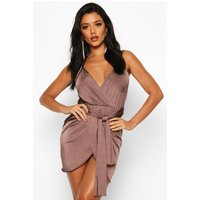 Womens Wrap Belted Bodycon Dress - brown - 16, Brown