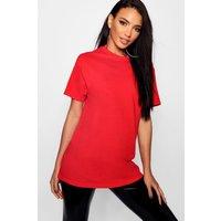 Womens Basic Oversized Boyfriend T-Shirt - Red - M, Red