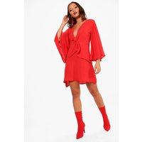 Angel Sleeve Plunge Twist Frill Shift Dress