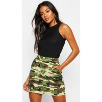 Womens Camo Print Denim Mini Skirt - multi - 6, Multi