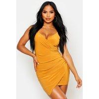 Womens Wrap Detail Bodycon Dress - yellow - 14, Yellow