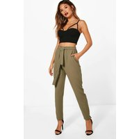 Womens Tie Waist Woven Crepe Slim Fit Trousers - green - 6, Green