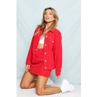 Womens Red Oversized Denim Jacket - 6, Red