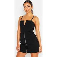 Womens Zip Through A Line Mini Skirt - Black - 6, Black