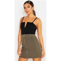 Womens Zip Through A Line Mini Skirt - green - 8, Green