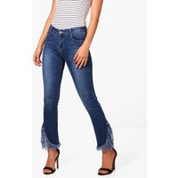 Midrise Fray Hem Flared Jeans - mid blue