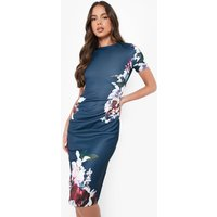 Womens Floral Pleat Detail Midi Dress - Navy - 14, Navy
