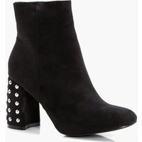 Studded Heel Ankle Boot - black