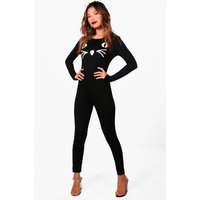 Cat Eye Halloween Jumpsuit - black