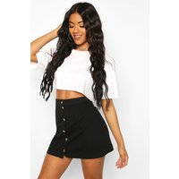 Womens Button Through Denim A Line Skirt - Black - 10, Black