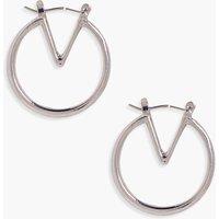 Geo Hoop Earrings - silver