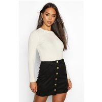 Womens Bonded Suede Button Through Mini Skirt - black - 6, Black