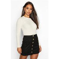 Womens Bonded Suede Button Through Mini Skirt - black - 6, Black