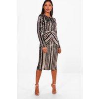 Womens Boutique Lara Stripe Sequin Midi Dress - black - 6, Black