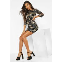 Womens Boutique Sequin 3/4 Sleeve Bodycon Dress - black - 6, Black