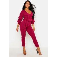 Wrap Rouche Top & Trouser Co-Ord Set - raspberry