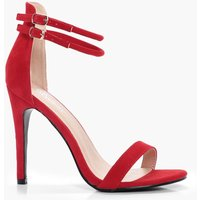 Womens Double Ankle Band 2 Part Heels - red - 5, Red