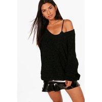 Womens Oversized Slouchy V-Neck Chenille Jumper - black - S/M, Black