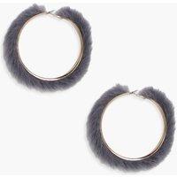 Faux Fur Hoop Earrings - grey