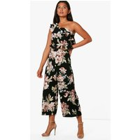 Floral Frill Crop and Culotte Co-Ord Set - black