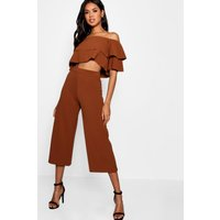 Womens Double Bandeau Top and Culotte Co-ord - beige - 8, Beige