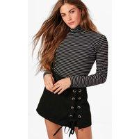 High Neck Stripe Long Sleeve Top - black