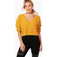V Neck Crop Knit Jumper - mustard