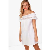 Lace Off Shoulder Frill Shift Dress - ivory