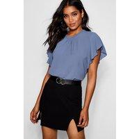 Womens Woven Frill Sleeve & Neck Blouse - blue - 14, Blue