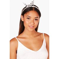 Polka Dot Bend Tie Hairband - white