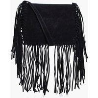 Fringed Detail Cross Body Bag - black
