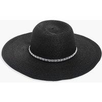 Diamante Trim Floppy Hat - black