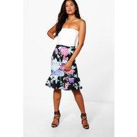 Bright Floral Drop Hem Midi Skirt - teal